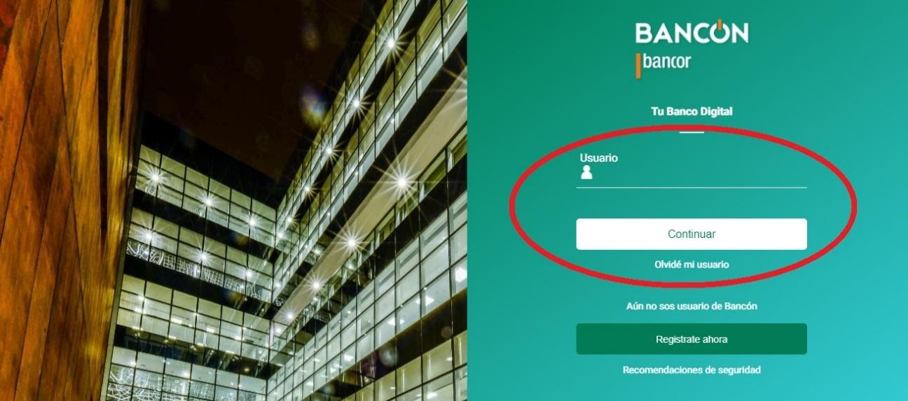 Home Banking Bancor: Ingresar